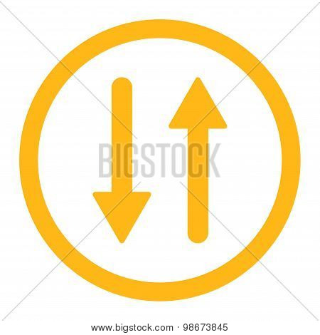 Arrows Exchange Vertical flat yellow color rounded vector icon