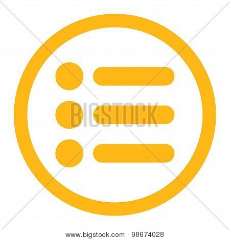 Items flat yellow color rounded vector icon