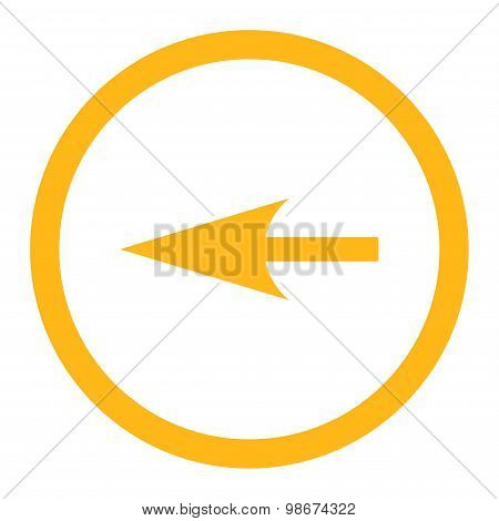 Sharp Left Arrow flat yellow color rounded vector icon