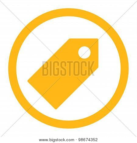 Tag flat yellow color rounded vector icon