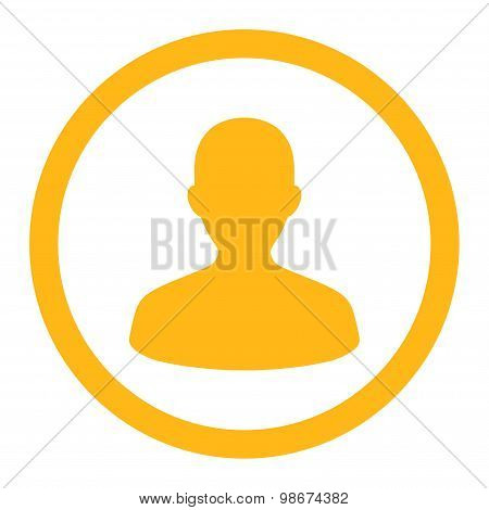 User flat yellow color rounded vector icon