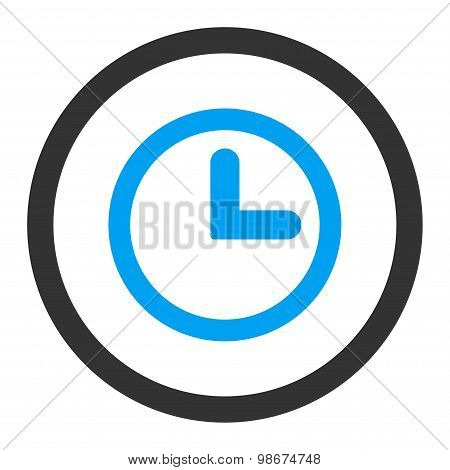 Clock flat blue and gray colors rounded vector icon