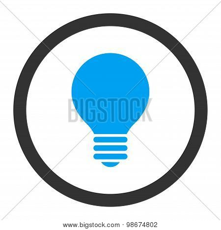 Electric Bulb flat blue and gray colors rounded vector icon