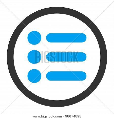 Items flat blue and gray colors rounded vector icon