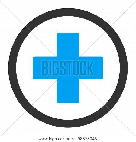Plus flat blue and gray colors rounded vector icon