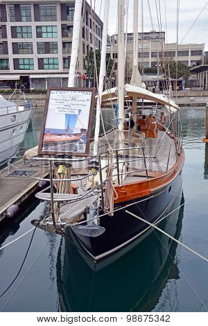 Vintage Yacht For Hire In Viaduct Basin, Auckland New Zealand