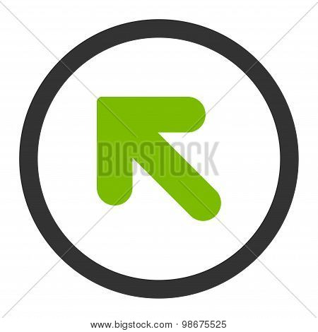 Arrow Up Left flat eco green and gray colors rounded vector icon