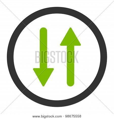 Arrows Exchange Vertical flat eco green and gray colors rounded vector icon