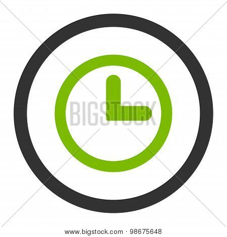 Clock flat eco green and gray colors rounded vector icon