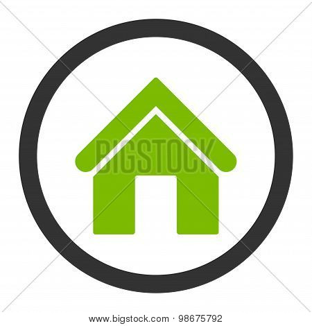Home flat eco green and gray colors rounded vector icon
