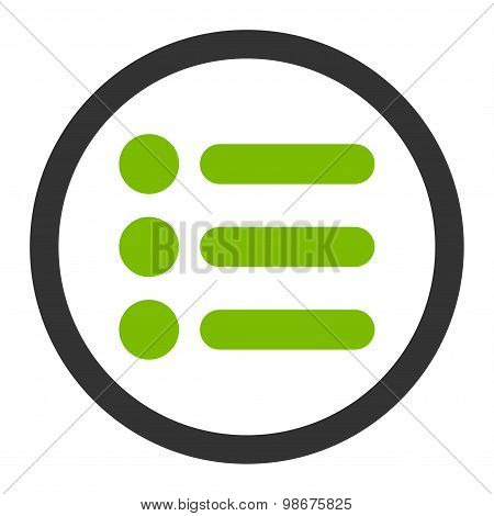 Items flat eco green and gray colors rounded vector icon