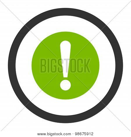 Problem flat eco green and gray colors rounded vector icon