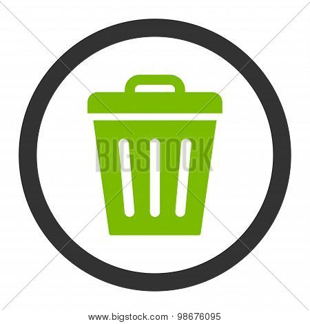 Trash Can flat eco green and gray colors rounded vector icon