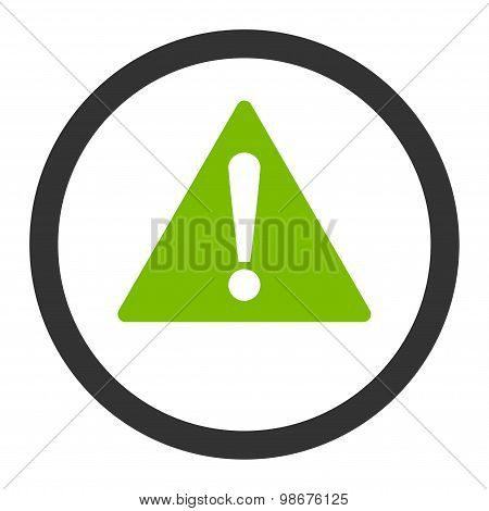 Warning flat eco green and gray colors rounded vector icon