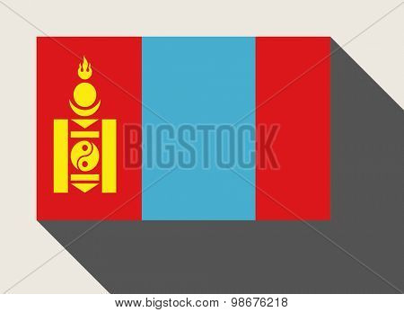 Mongolia in flat web design style.