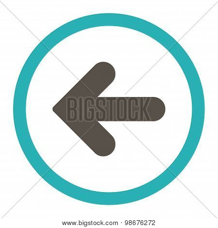 Arrow Left flat grey and cyan colors rounded vector icon
