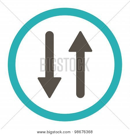 Arrows Exchange Vertical flat grey and cyan colors rounded vector icon