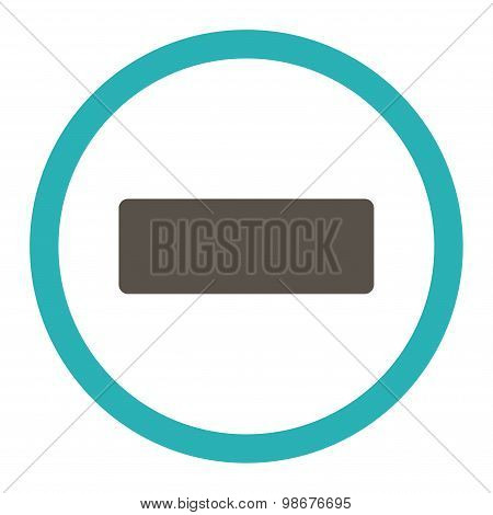 Minus flat grey and cyan colors rounded vector icon