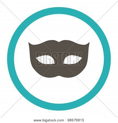 Privacy Mask flat grey and cyan colors rounded vector icon