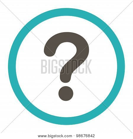 Question flat grey and cyan colors rounded vector icon