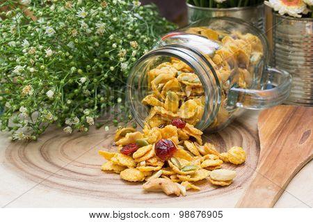 Corns Flakes On Wood Plate