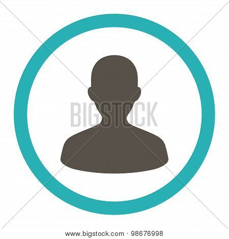 User flat grey and cyan colors rounded vector icon
