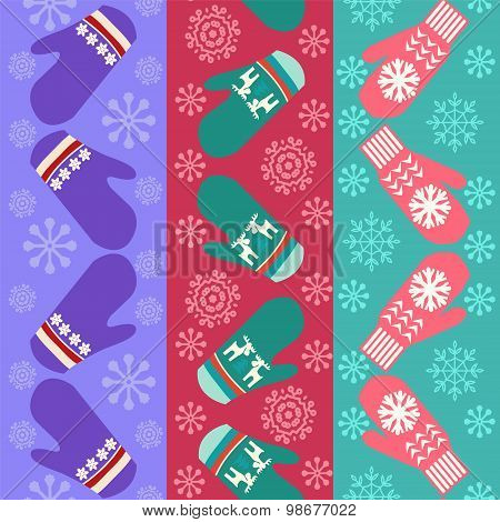 Christmas Pattern With Mittens - Illustration