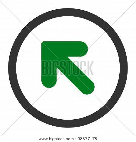 Arrow Up Left flat green and gray colors rounded vector icon