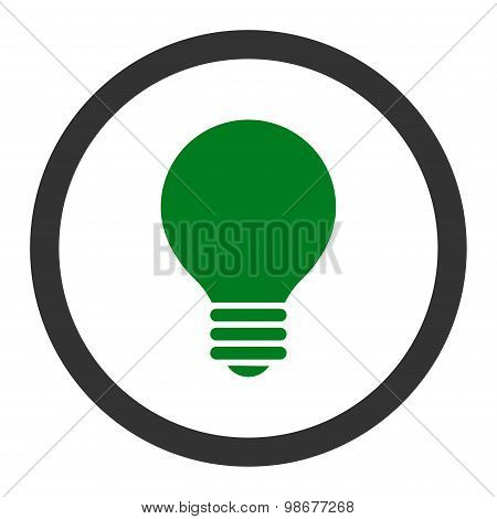 Electric Bulb flat green and gray colors rounded vector icon