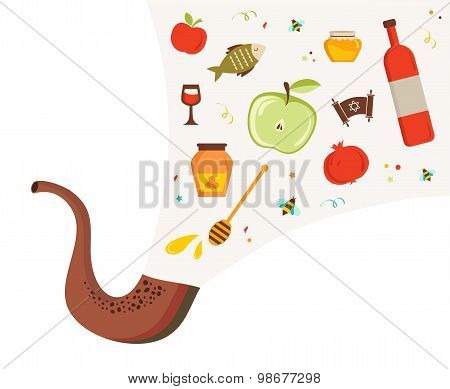 shofar ,horn, with set of icons over textured background. rosh hashanah, jewish holiday . traditiona