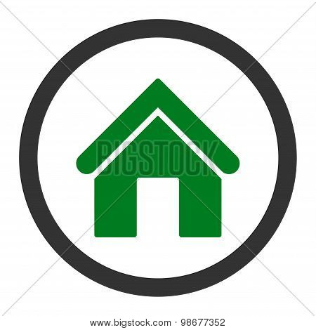 Home flat green and gray colors rounded vector icon
