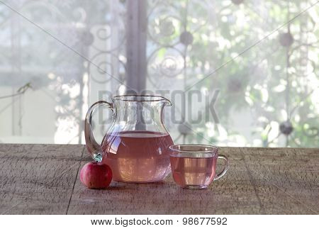 Compote From Fresh Apples In A Transparent Jug