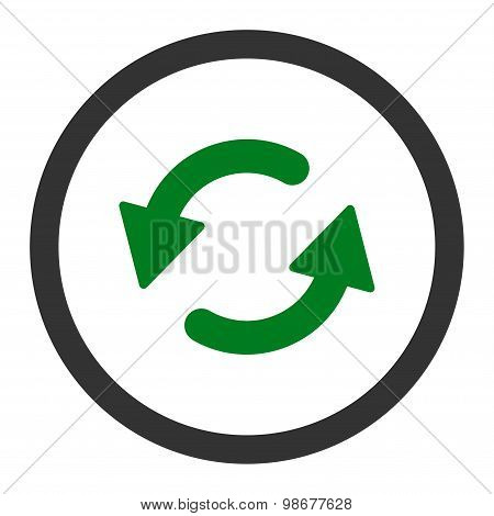 Refresh Ccw flat green and gray colors rounded vector icon
