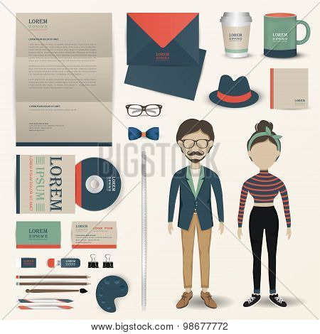 Artist and designer uniform office stationary and accessories tool icon design with sample text