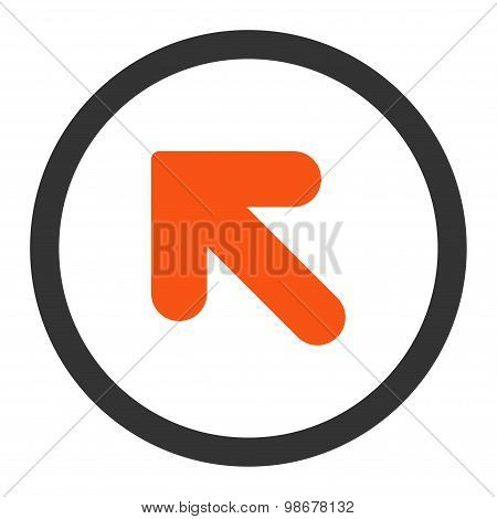 Arrow Up Left flat orange and gray colors rounded vector icon