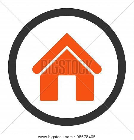 Home flat orange and gray colors rounded vector icon
