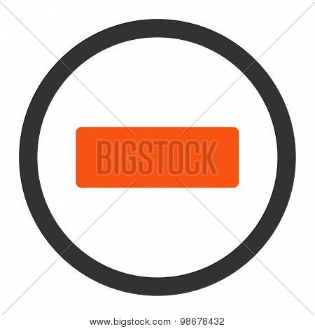 Minus flat orange and gray colors rounded vector icon