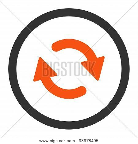 Refresh flat orange and gray colors rounded vector icon