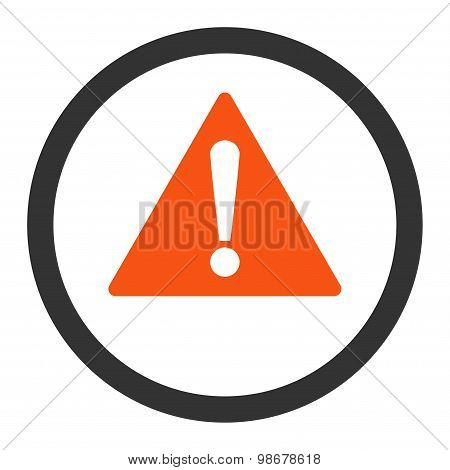 Warning flat orange and gray colors rounded vector icon