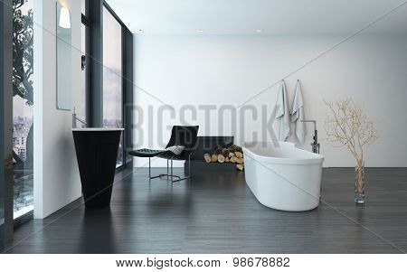 Modern contemporary luxury bathroom interior with freestanding bathtub, black lounge chair and fireplace. 3d Rendering.