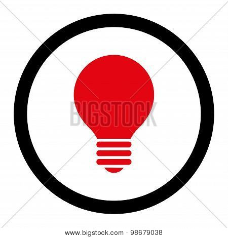Electric Bulb flat intensive red and black colors rounded vector icon