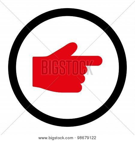 Index Finger flat intensive red and black colors rounded vector icon