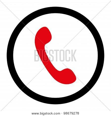 Phone flat intensive red and black colors rounded vector icon