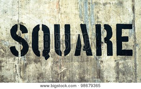 Square In Grunge Black Graffiti Letters