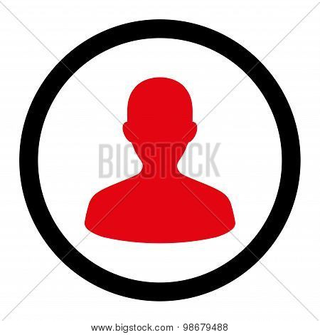 User flat intensive red and black colors rounded vector icon