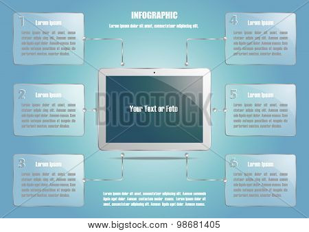 Infographic with tablet computer and 6 options