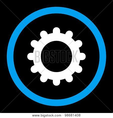 Gear flat blue and white colors rounded raster icon