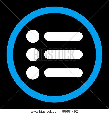 Items flat blue and white colors rounded raster icon
