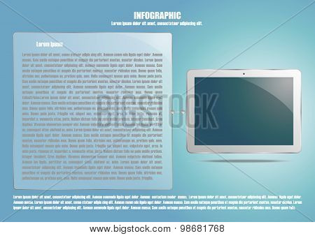 Infographic with tablet computer and text place