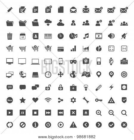100 flat design icons for web and mobile